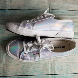 Superga  Irisdescent lace up sneakers size 7.5